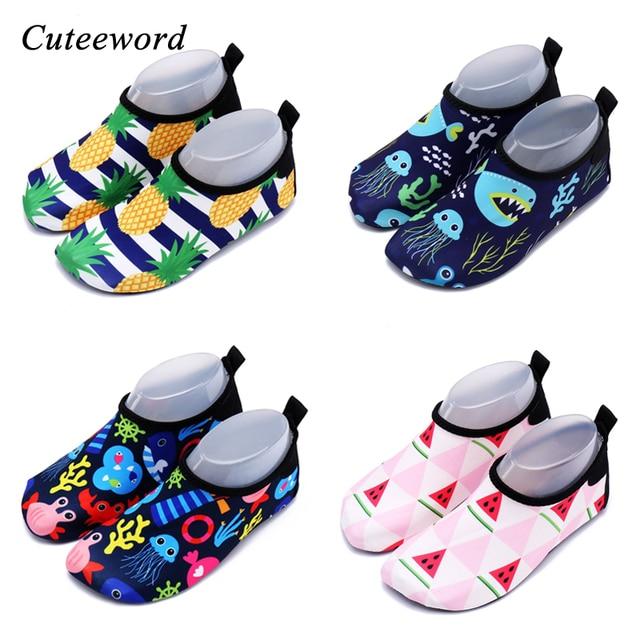 ילדי קיץ נעלי בית החוף לילדים נעלי החלקה לנשימה בנים ובנות תינוק שחייה שכשוך נעלי מקורה רך גרבי 2018