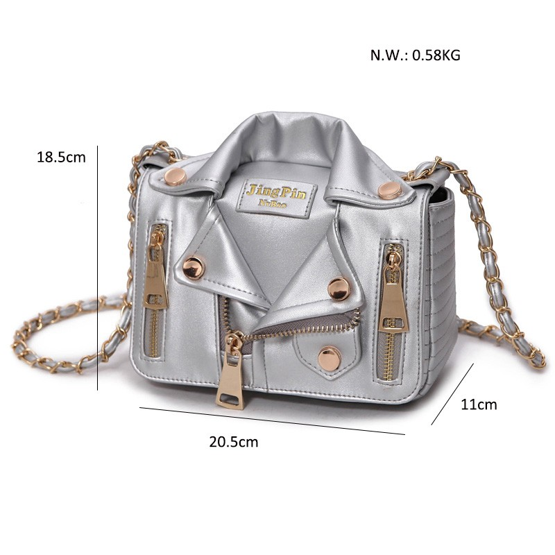 New European Brand Designer Chain Motorcycle Bags Women Clothing Shoulder Rivet Jacket Bags Messenger Bag Women Leather Handbags 8
