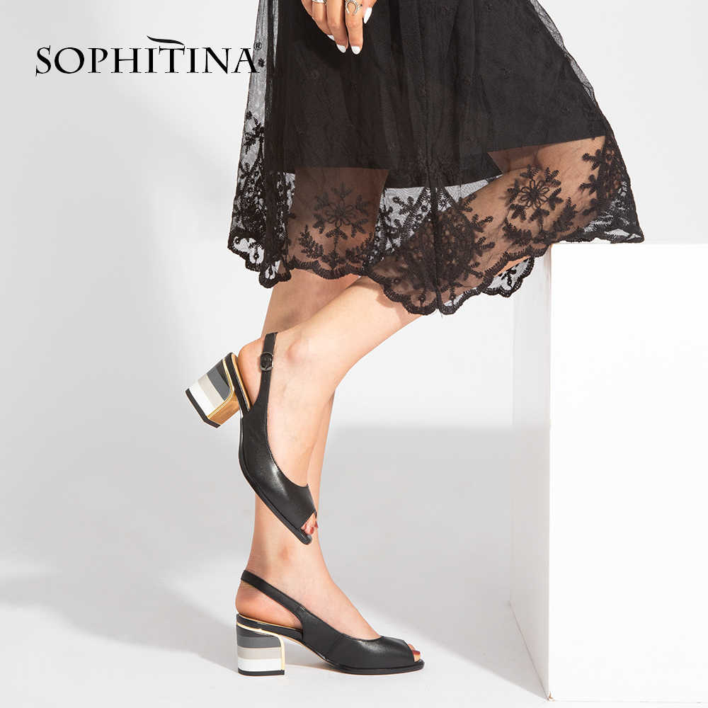 Sophitina Fashion Sandal Kulit Asli Buatan Tangan Lady Peep Toe Sandal Hak Square Tali Gesper Klasik Sepatu Wanita S22