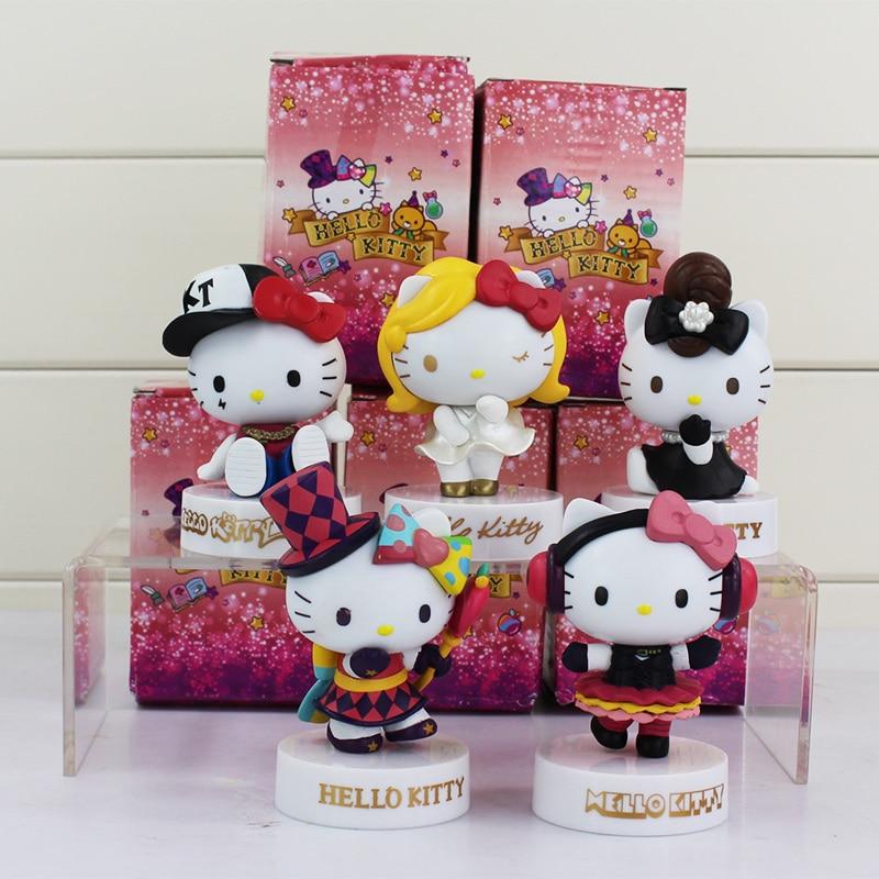 5Pcs/Lot Japan Anime Hello Kitty Action Figures <font><b>Cartoon</b></font> KT <font><b>Cat</b></font> Harokiti Kitty White Cute Kawaii Baby <font><b>Toys</b></font> <font><b>Doll</b></font> Girls <font><b>Lovely</b></font> Gift