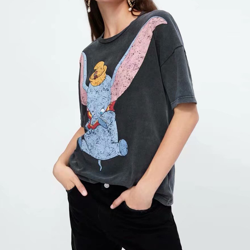 Casual Modern Graphic Tee Dumbo Printed T-Shirt Short Sleeves O-Neck Summer Loose Tops Womens 2019 Women's Clothing Lady TShirts
