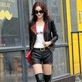 Double Color  Autumn Short Leather Motorcycle Jacket For Women Casual  Leather Coat  un manteau de cuir Casaco de couro Z1688