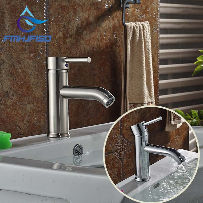 Free Shipping Bathroom Faucet Single Handle Chrome / Brushed Brass Vanity Sink Mixer Tap
