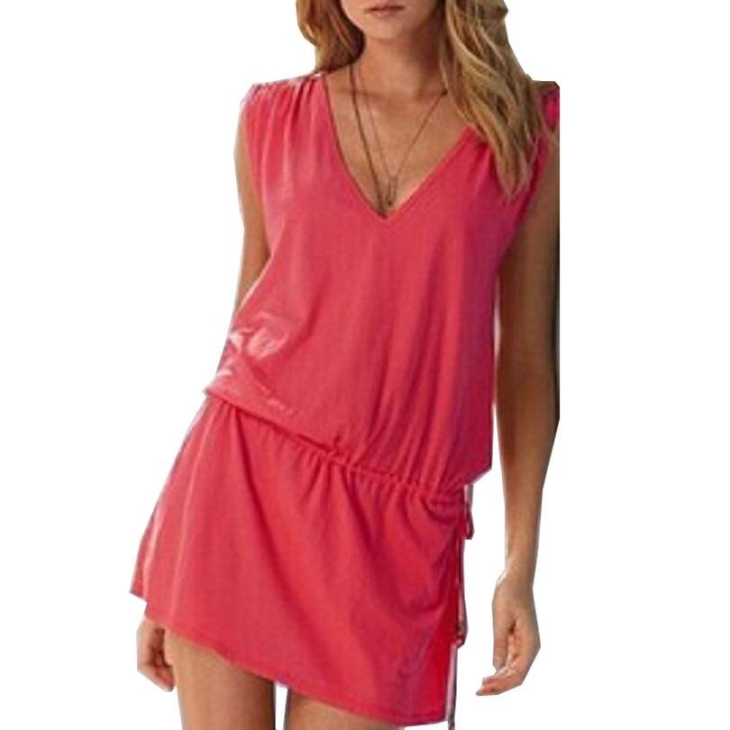 2f32dce955 summer beach dress women clothing high stretch sleeveless sexy v neck  dresses