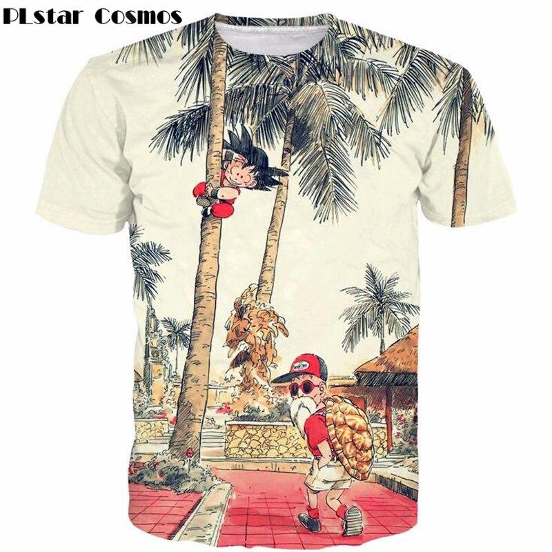 PLstar Cosmos lindo Kid Goku y fresco maestro Roshi 3d impresión Anime Dragon Ball Z camisetas verano hombres Mujeres Vintage camiseta