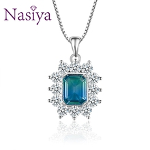 цена Trendy Multicolor Tourmaline Gemstone Pendant Necklaces Women 925 Silver Jewelry Party Engagement Daily Life Birthday Gifts в интернет-магазинах