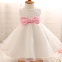 Big Bow Beaded Baby Girl Dress Infant White Princess Dress Girl Summer Dress Up For Wedding