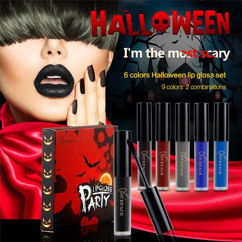 Halloween Limited Edition 6 Pack Liquid Lipstick Waterproof Velvet Cosmetics Batom Nude Matte Lipstick Cosmetic Lipstick Set in Lipstick from Beauty Health