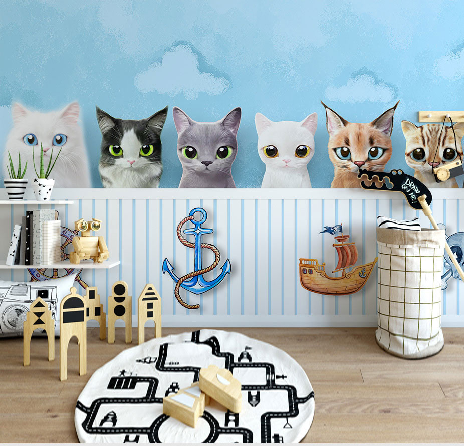 Blue Cloud Cute Cats Wallpaper Mural 3d Wall Photo Mural for Baby Child Room Sofa Background 3d Animal Wall paper Murals custom 3d photo wallpaper mural nordic cartoon animals forests 3d background murals wall paper for chirdlen s room wall paper