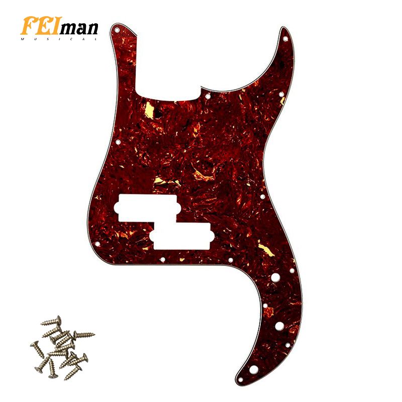 Pleroo Guitar Parts 13 Holes Pickguard For Fender USA/Mexico Standard P Bass Style Guitar Scratch Plate Without Truss Rod Hole