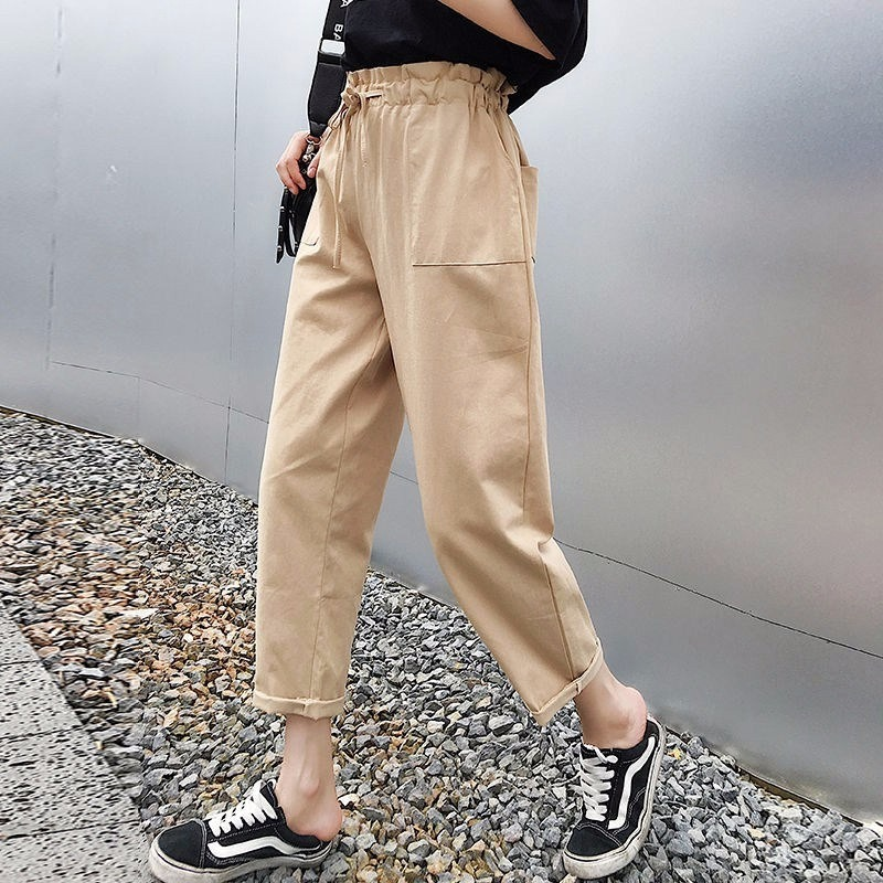 2019 Cotton Women Loose Causal   Wide     Leg     Pants   High Waist Drawstring Solid Cargo   Pants   Casual Comfort Long Trousers