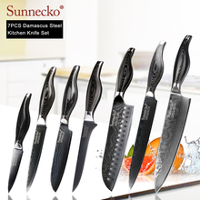 SUNNECKO 7pcs Kitchen Knives Set Chef Slicing Utility Paring Santoku Knife Damascus Japanese VG10 Steel Cutter Pakka Wood Handle