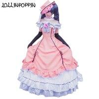 Anime Black Butler Ciel Phantomhive Cosplay Dress Women Cosplay Costumes Lolita Dress (Dress + Hat + Neck Accessory + Gloves)