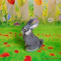 Gray Simulation Rabbit Model Toy Polyethylene Furs Cute Rabbit Doll Gift About 16x22cm 284