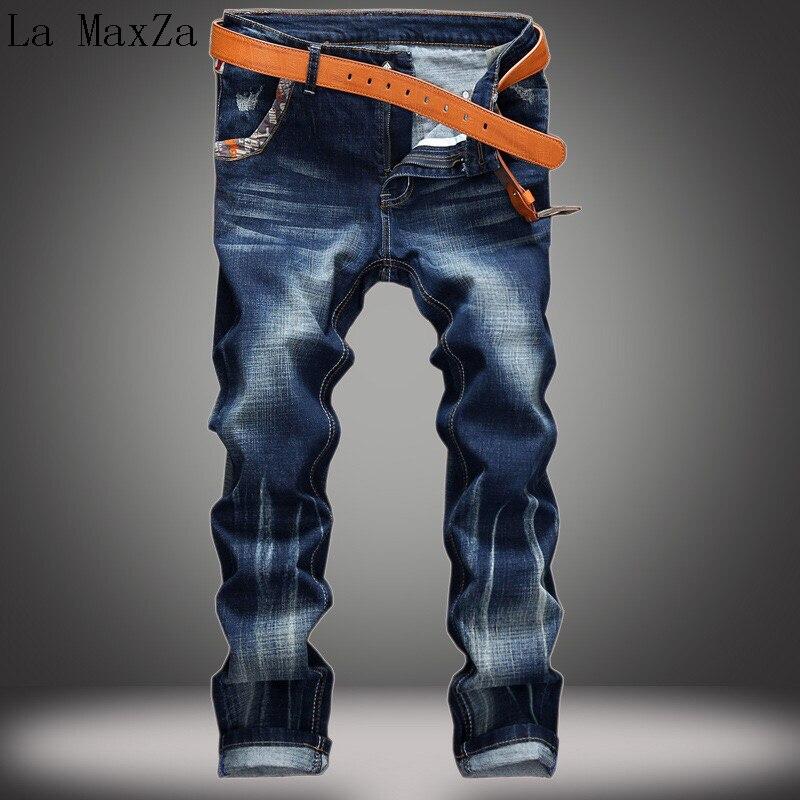 Plus Size 38 Vintage Washed Hip Hop Streetwear Denim Jeans Straight Pants Stretch Denim Jeans Men