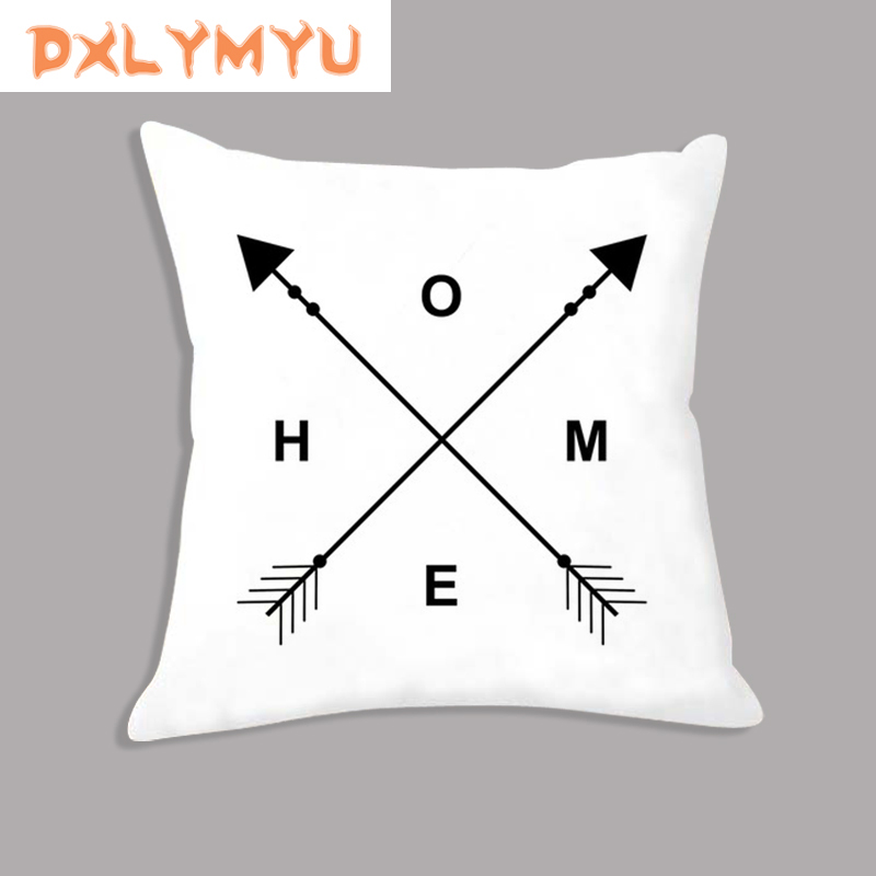 Pillow Case 45x45cm Arrow LOVE Quote Eyelash Nordic Prints Pillowcases Black White Velvet Cushion Cover Sofa Home Decor