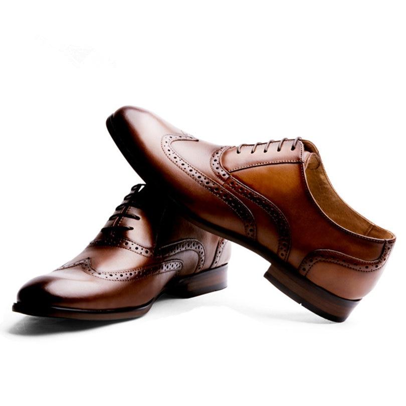 Zapatos de vestir de boda de negocios de oficina hechos a mano marrón de lujo Formal de cuero genuino hombres zapatos tamaño 38 47 - 5
