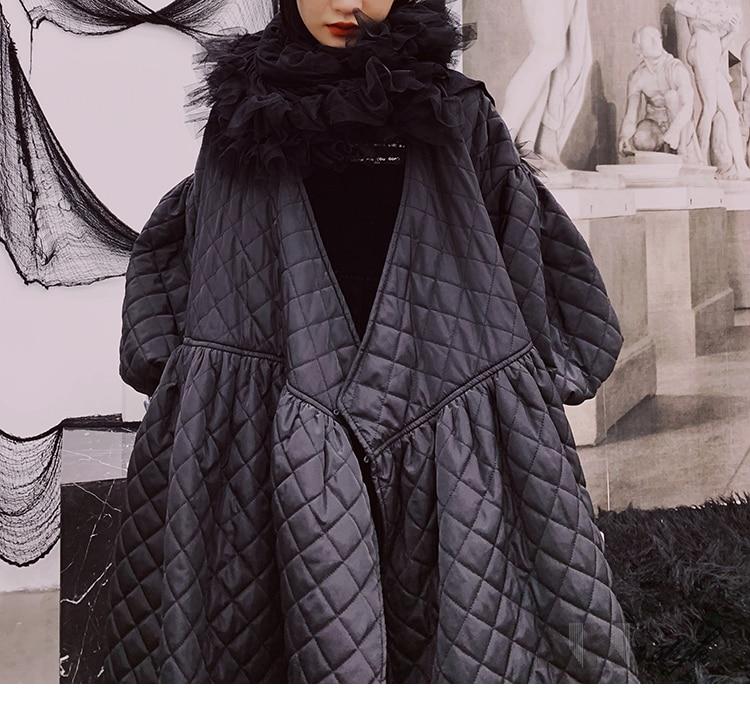 Hiver Femmes Noir Chaud Personnels Manteau Pardessus Surdimensionné Style Coton Dame Manches Bf Bouffantes Coréen Genou Longueur wFwOxgqCA