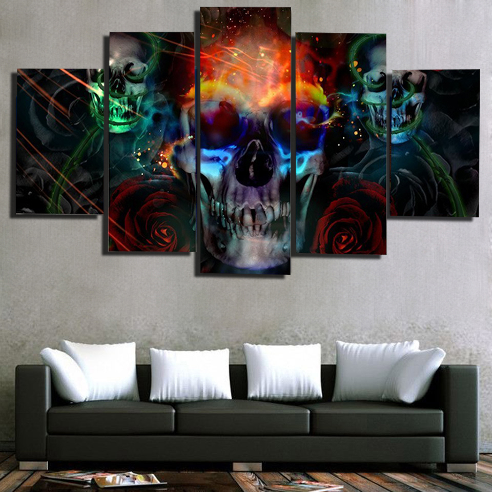 5 Piece Canvas Art Diamond Painting Skull Flower 5d Diy