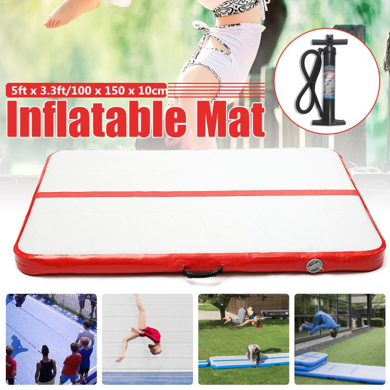 Inflatable Air Track Gymnastics Tumbling Mat Training Home Floor Yoga Fitness matte mit Hand Pumpe