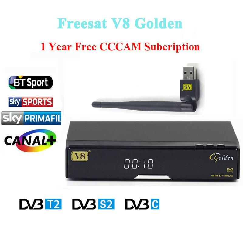 ФОТО Best V8 Golden receptor Satellite dvb t2/s2/c satellite receiver+1 year europe cccam cline Support PowerVu Biss Key via USB WIFI