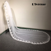 Long Lace Bridal Veils With Comb 2 layer Wedding Veils Lace Edge Cathedral Blusher Bridal Veils White Ivory