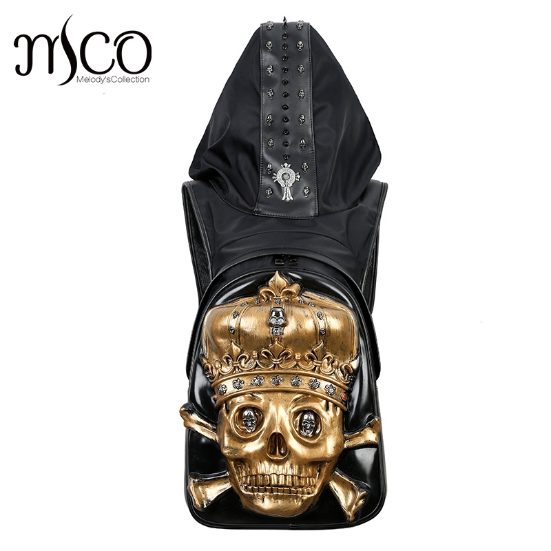 Fashion Personality 3D imperial crown skull knife leather backpack rivets backpack with Hood cap apparel cross bags hiphop man
