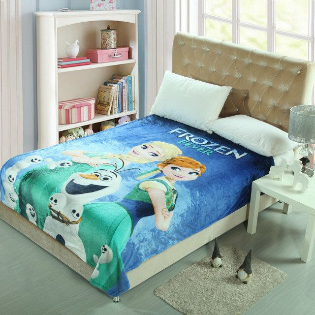 Blue Green Frozen Anna and Elsa Printed Blankets Throws Bedding 150*200CM Girls Childrens Bed Home Bedroom Decoration Flannel