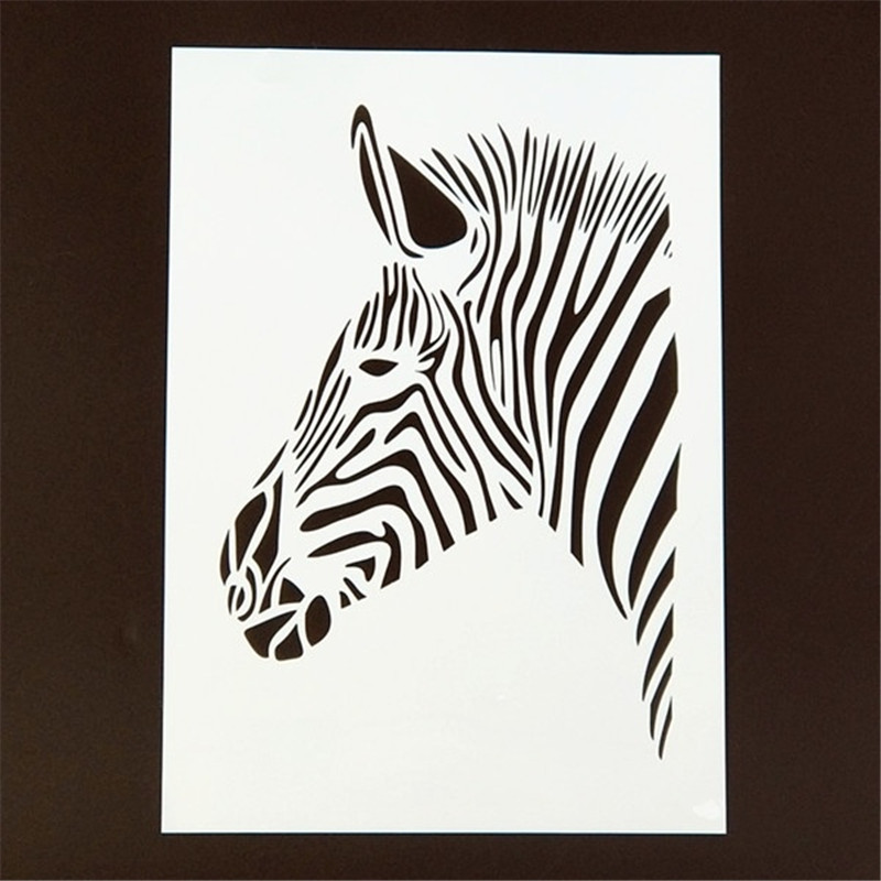 DIY Painting A4 Size Zebra Head Pattern Layering Art Stencils Template For Wall Fabric Painting Decorative