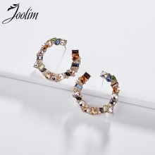 Joolim Jewelry Wholesale/Colorful Glass Hoop Earring Chic Stylish Earrings for Women 2019