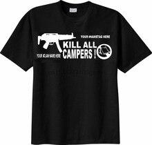 Camiseta matar todos os campistas personalizzata com tuo nome o clã mmo fps