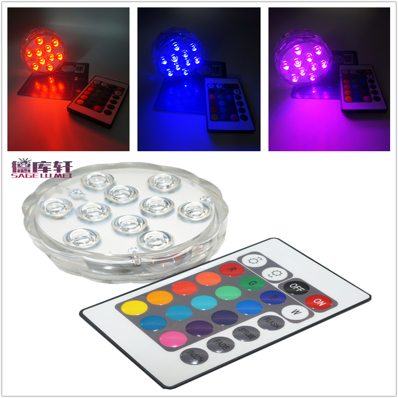 4pcs/lot Submersible RGB LED Light remote controllter Battery Operated IP68 Waterproof Underwater Swimming Pool Wedding Party