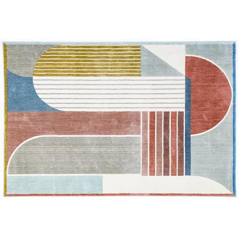 Post-moderne décoration bureau chambre tapis style nordique grande taille géométrique chevet tapis, INS populaire salon tapis - 6