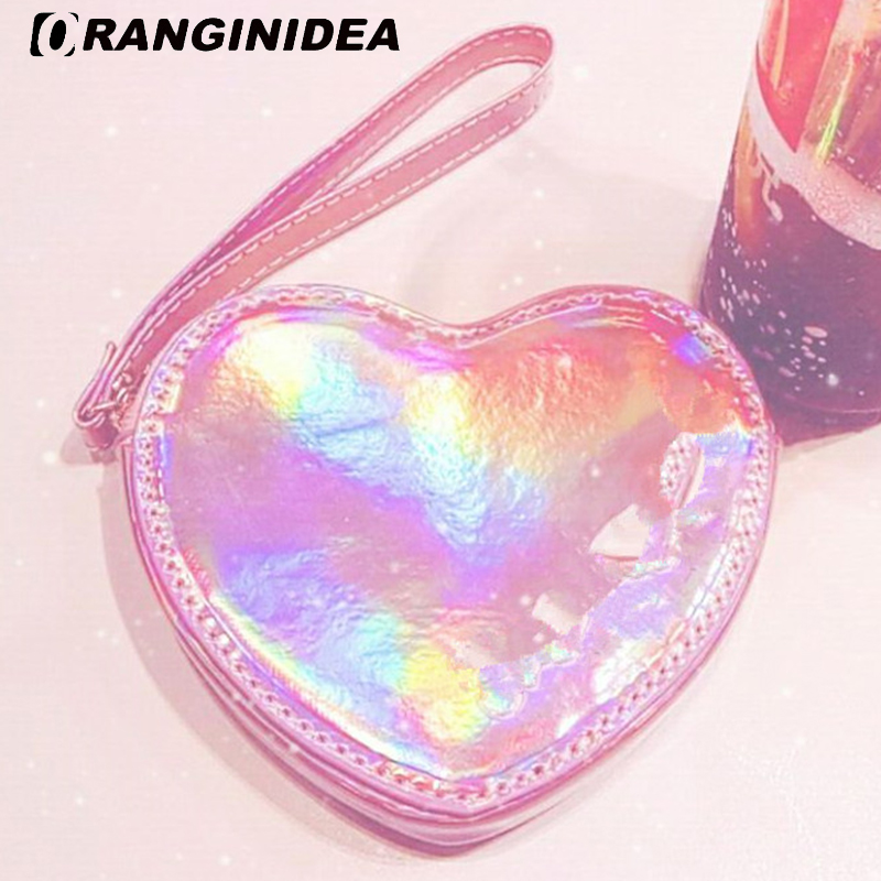 Faux Fur Coin Bags Women Holographic Laser Card Holder Purse Sweet Lady Pink Heart Shape ...