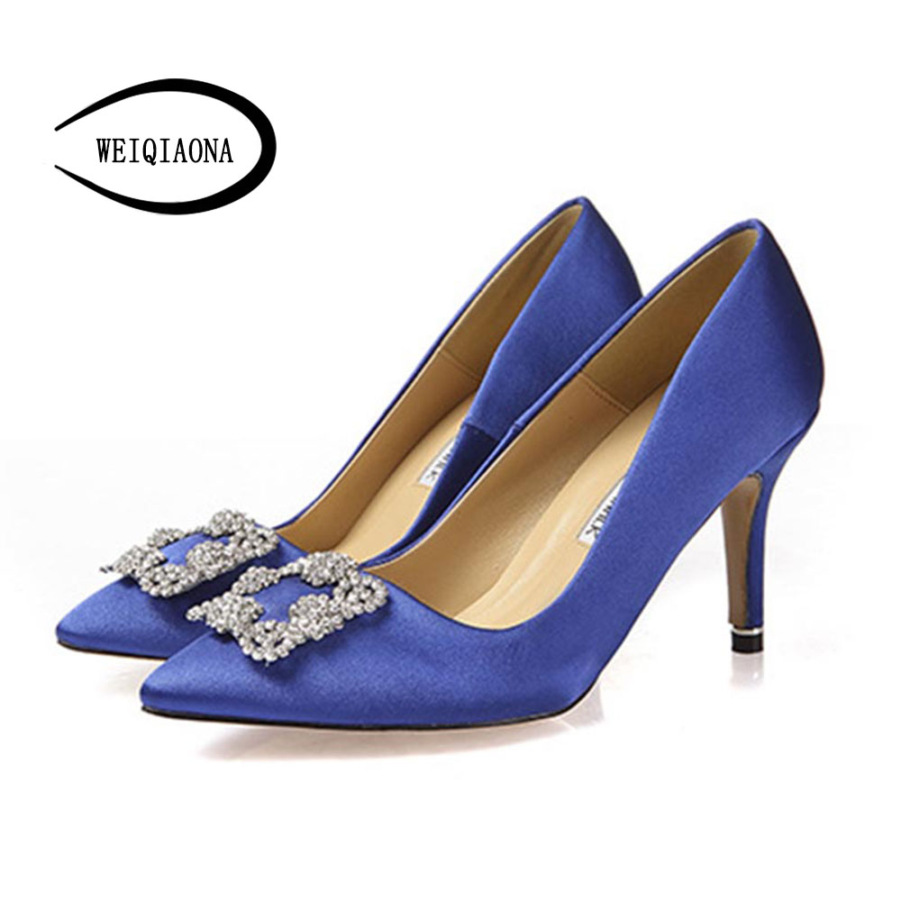 The New Spring Summer Women Pumps High Heels Shoes Elegant Buckle Rhinestone Heeled Sexy Thin Pointed Single Shoes 2014 spring and summer new elegant gold buckle leather shoes women shoes carrefour
