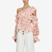New Spring Self Portrait Designer Tops 2019 Sexy Elegant Red Floral Printed Off Shoulder Ruffle Chiffon Blouses Womens