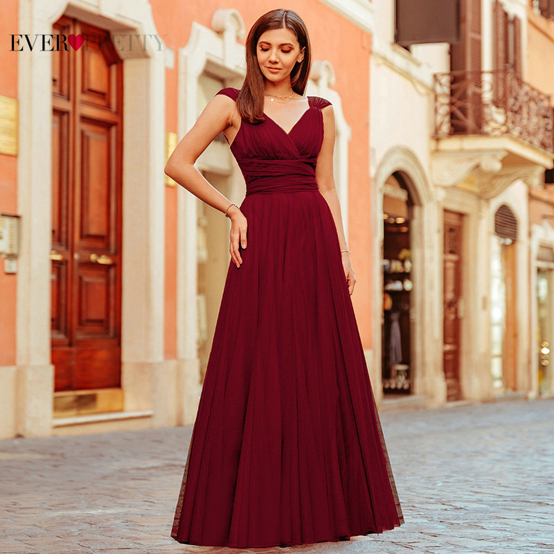New Elegant A Line V Neck Long Bridesmaid Dresses Vestido Dama Honor Ever Pretty Sexy Backless Wedding Guest Dress Party Gowns