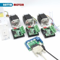 RU Delivery 4 Axis CNC Kit Dual Shaft Nema23 Stepper Motor 270Oz In 256 Microstep Driver