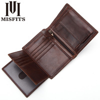 Misfits Man Wallets Luxury Designers Tri fold Wallet Genuine Leather Short Wallets Male Multifunctional Driver License Holder