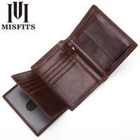 Misfits Man Wallets Luxury Designers Tri fold Wallet Genuine Leather Short Wallets Male Multifunctional Driver License Holder