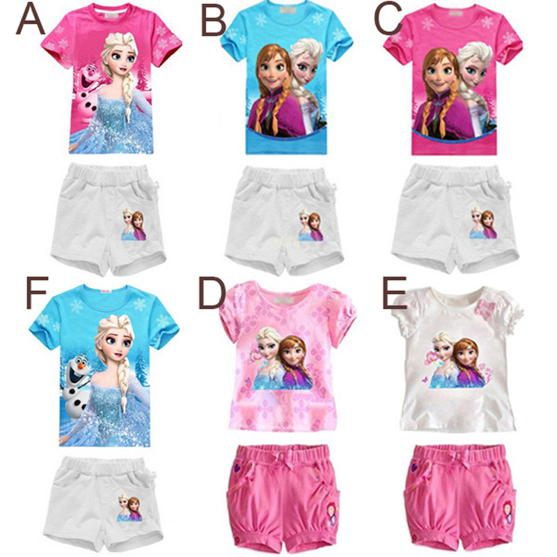 summer baby girl clothing sets cartoon princess t shirt+shorts 2pcs baby clothes 2017 new elsa anna toddler girls clothing set 2018 kids girls clothes set baby girl summer short sleeve print t shirt hole pant leggings 2pcs outfit children clothing set