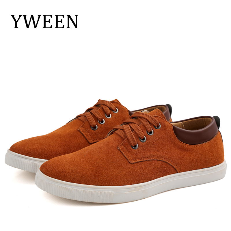YWEEN Men's Casual Shoes Flock Leather Men Lace-up Shoes Oxford Big Size Man Flats