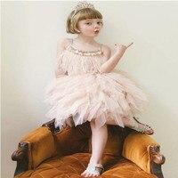夏の外国貿易爆発女の子白鳥羽ドリルスパンコールネイル真珠ドレス女の子誕生日結婚式パフォーマンス衣装ドレス