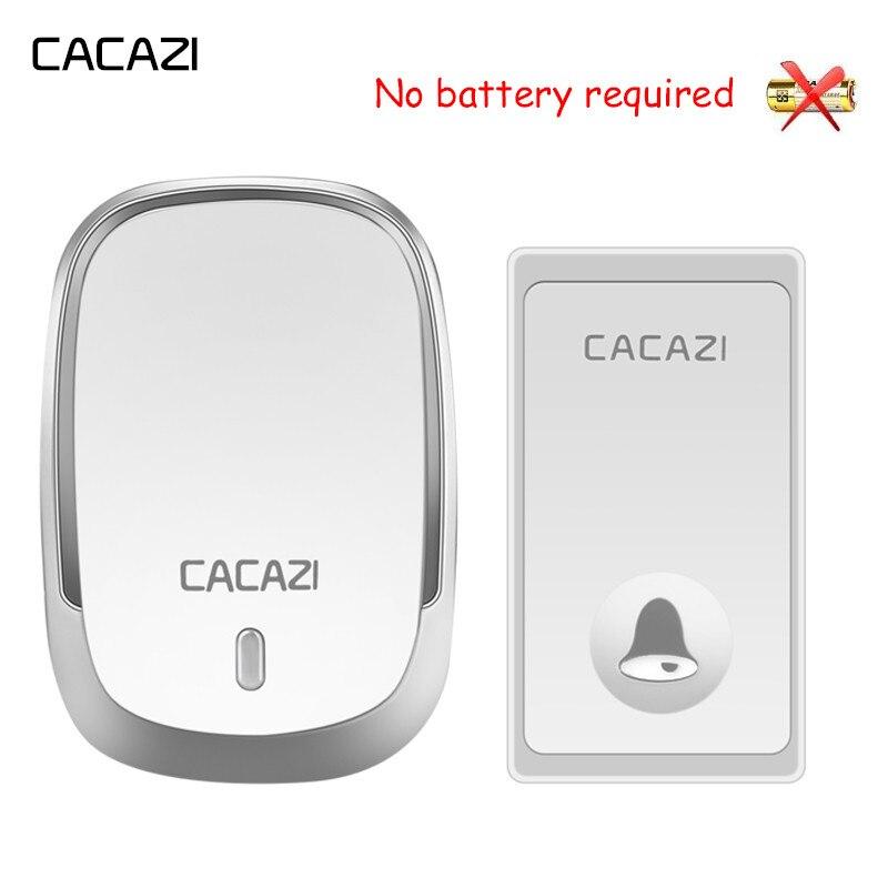 CACAZI Auto-Alimenté Étanche Sans Fil Sonnette Pas de Batterie Bouton 200 m À Distance LED Accueil Sans Fil Cloche UE Plug 36 anneaux