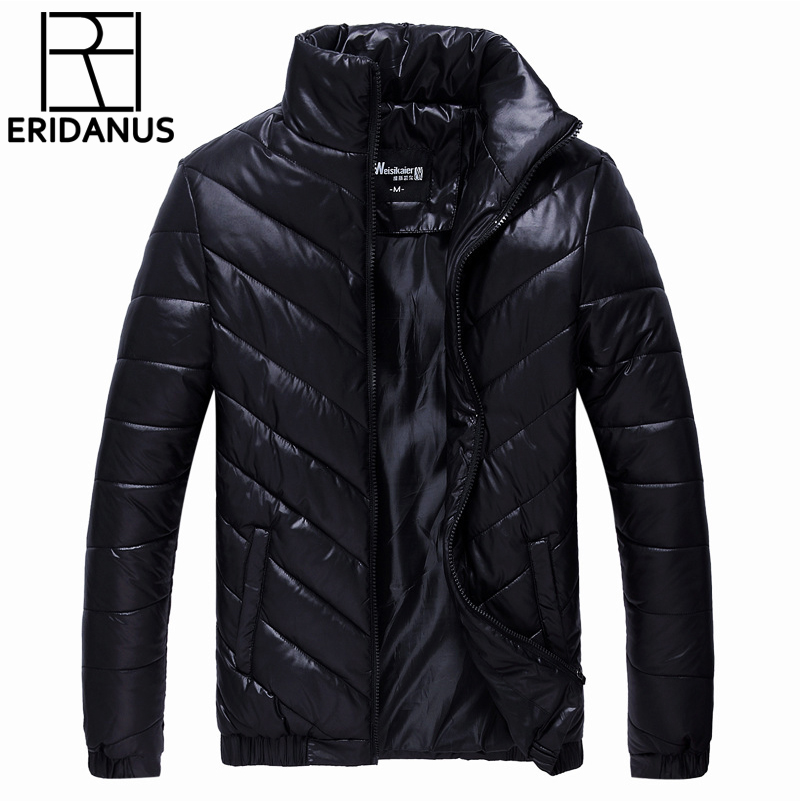 2016 Men Winter Coat Fashion Minimalist Cotton-Padded Solid Thick   Parkas   Casual Europe America Style Stand Collar Jacket M410