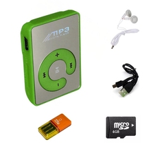 Mini MP3 Player Protable Clips MP3 Music Player USB Media Player MP3 Players with 4gb TF Card Headphone Charging Cable