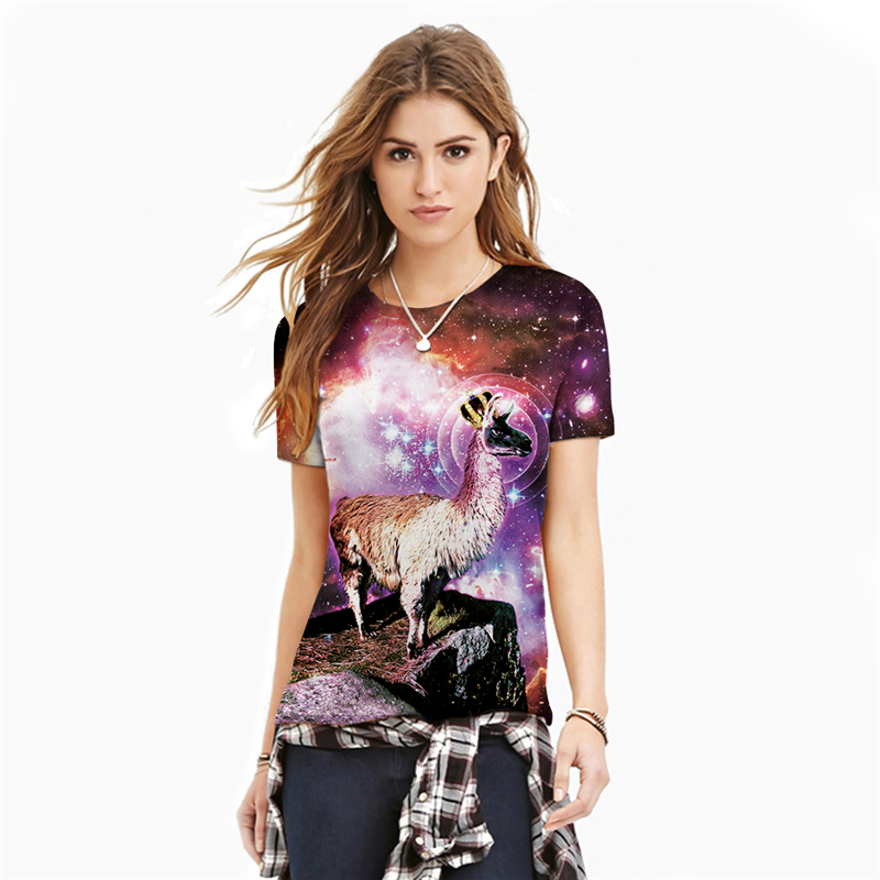 The Stars Antelope Tee Shirts Hot Short Sleeve Round Neck 3D Printed T-Shirt Tops Women  ...