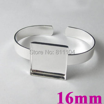 16x16mm New Silver Plated Brass Blank Square Deep Wall Bezel Tray Glass Cabochon Bases cuff Bracelet Bangle Settings Wholesale