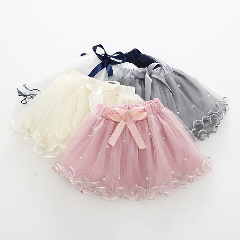 2019 Girls pettiskirt dziecięce spódnice baletnicy 5 maluch niemowlę krótkie ciasto spódnica perła dzieci księżniczka falisty różowy tiul puffy spódnice 1