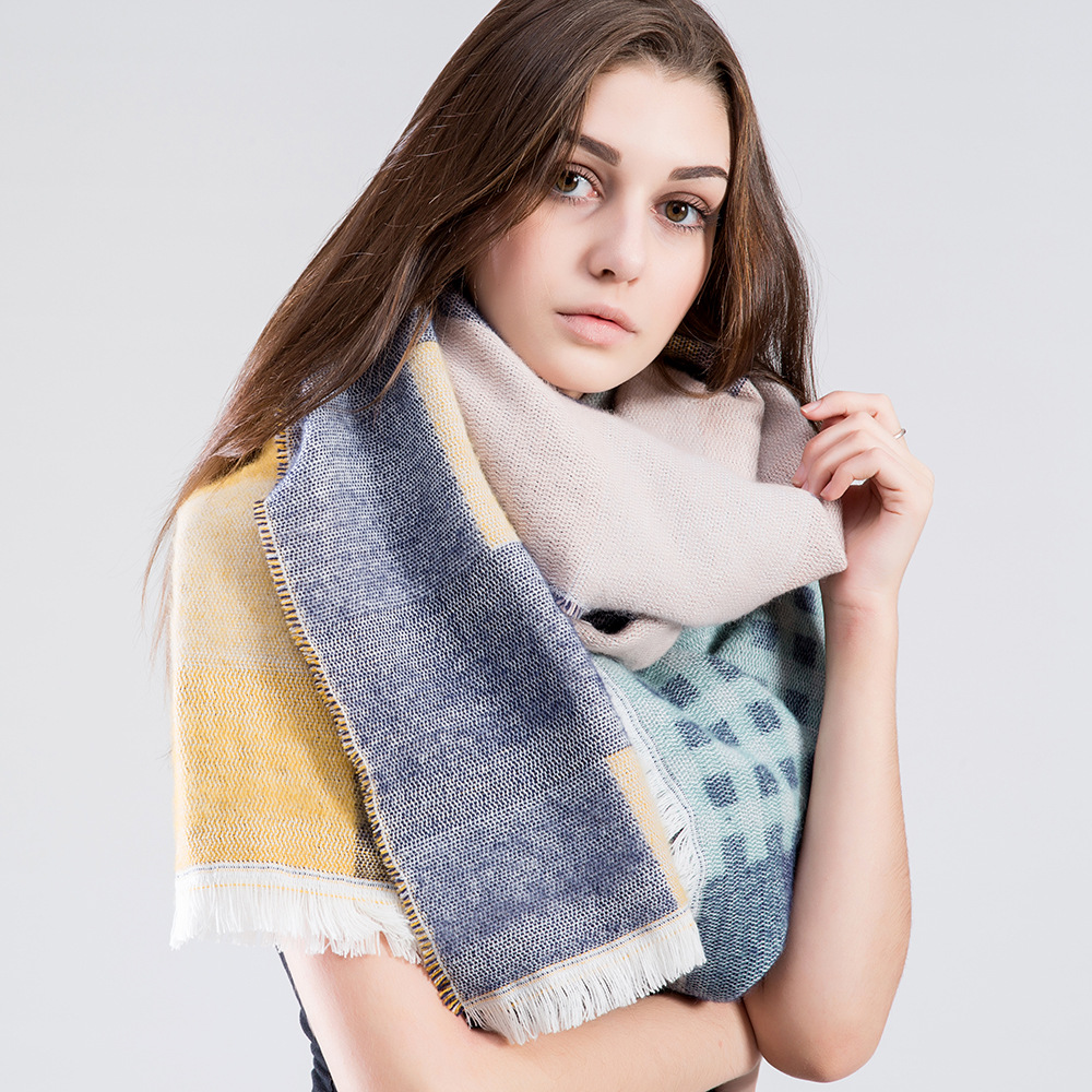 2016 winter style women lady Scarves & Wraps luxury warm Oblique pink plaid shawl Scarves Thick Pashmina for women red blue grey